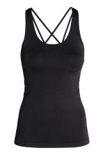 Seamless yoga vest top - Black - Ladies | H&M 1