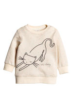 Sweat - Blanc/chat -  | H&M FR 1