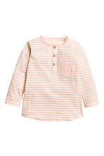 Long-sleeved top - Light pink/Striped - Kids | H&M CN 1