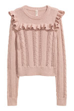Knitted jumper with a frill - Vintage pink - Ladies | H&M 2
