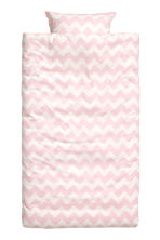 Zigzag-print duvet cover set - White/Light pink - Home All | H&M CN 2