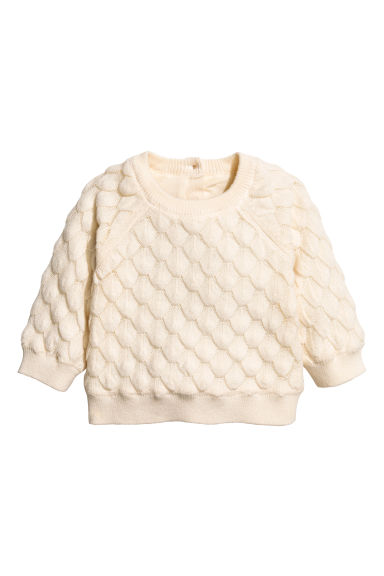 Textured-knit jumper - Natural white -  | H&M 1