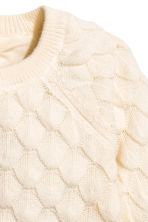Textured-knit jumper - Natural white -  | H&M 3