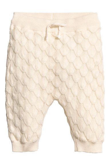 Textured-knit trousers - Natural white - Kids | H&M 1