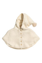 Textured-knit poncho - Light beige -  | H&M CN 1