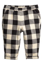 Pull-on trousers - Black/Checked -  | H&M 1