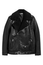 Pile-lined biker jacket - Black - Men | H&M CN 2