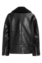 Pile-lined biker jacket - Black - Men | H&M CN 3