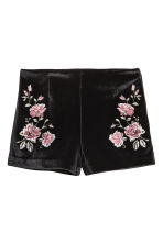 Shorts in velluto ricamati - Nero/rose - DONNA | H&M IT 2
