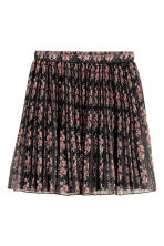 Pleated chiffon skirt - Black/Roses - Ladies | H&M CN 2