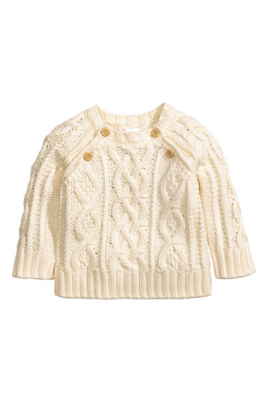 Cable-knit jumper - Natural white - Kids | H&M 1