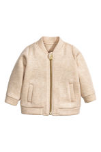 Lyocell baseball jacket - Light beige marl - Kids | H&M CA 1