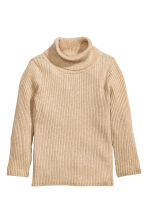 Ribbed polo-neck jumper - Beige marl - Kids | H&M CN 1
