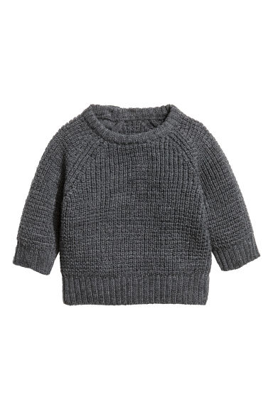 Merino wool jumper - Dark grey marl - Kids | H&M CA 1