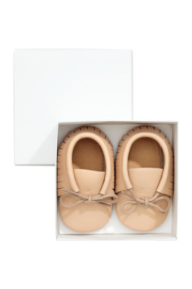 Leather moccasins - Beige -  | H&M