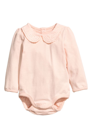 Bodysuit with a collar - Powder pink -  | H&M CN 1