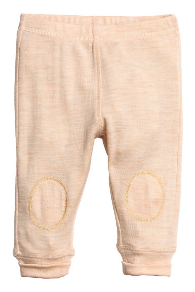 Wool jersey leggings - Beige marl -  | H&M