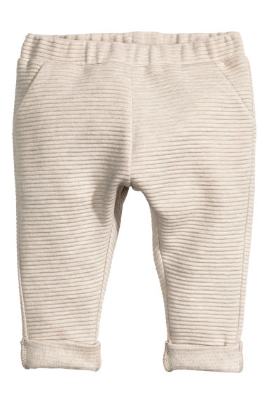 Textured jersey trousers - Light beige -  | H&M