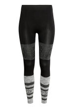 Seamless base layer tights - Black/Grey marl - Ladies | H&M CN 2