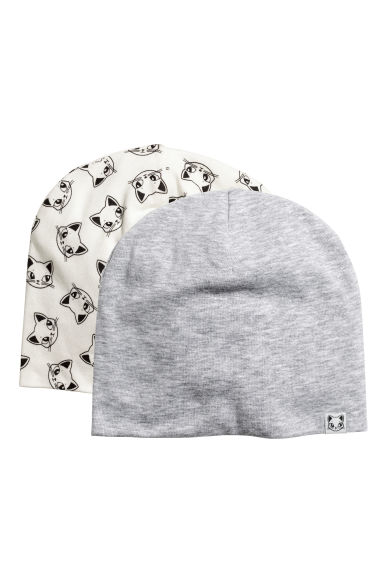 2-pack jersey hats - Natural white/Cats - Kids | H&M 1
