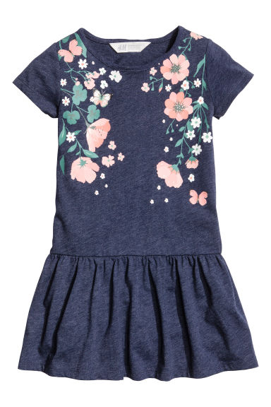 Jersey dress - Dark blue marl - Kids | H&M CN 1