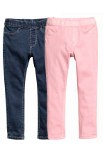 Lot de 2 leggings en denim - Bleu denim foncé/rose - ENFANT | H&M FR 3