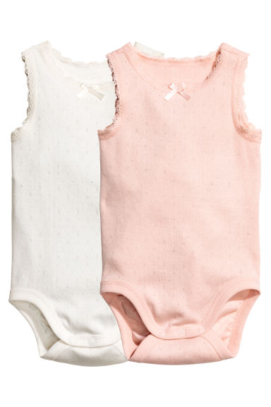 2-pack sleeveless bodysuits - Powder pink -  | H&M CA
