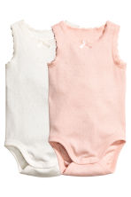 2-pack sleeveless bodysuits - Powder pink -  | H&M 1