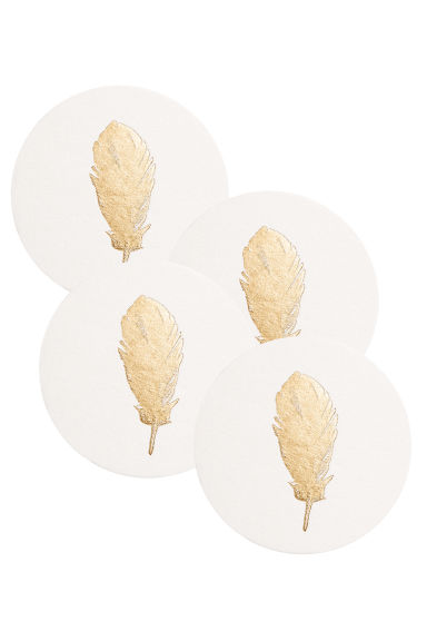 Lot de 4 dessous de verre - Blanc/plume - Home All | H&M FR 1