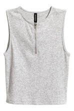 Cropped top with a zip - Grey marl - Ladies | H&M 2