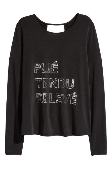 Long-sleeved yoga top - Black - Ladies | H&M CN 1