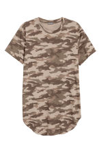 Long T-shirt - Brown/Patterned - Men | H&M CN 2