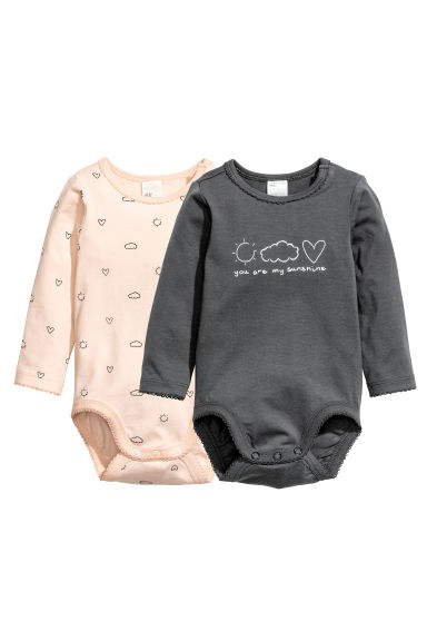 2-pack long-sleeved bodysuits - Dark grey - Kids | H&M CN 1