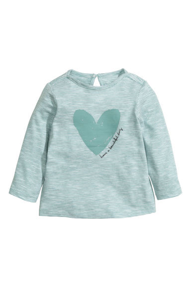Long-sleeved printed top - Dusty green/Striped - Kids | H&M CN 1