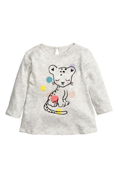 Long-sleeved printed top - Light grey marl - Kids | H&M 1