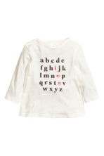 Long-sleeved printed top - White - Kids | H&M 1