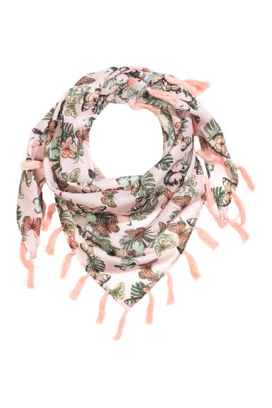Patterned triangular scarf - Light pink/Butterflies - Kids | H&M CN 1