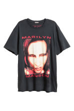 T-shirt with a print motif - Black/Marilyn Manson - Men | H&M 2
