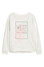 Sweat avec impression - Gris clair chiné -  | H&M FR 2
