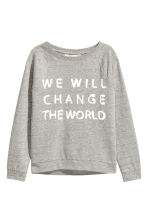 Printed sweatshirt - Grey marl - Kids | H&M CN 2