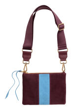 Shoulder bag with suede detail - Burgundy - Ladies | H&M GB 2
