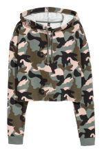 Cropped hooded top - Khaki green/Patterned - Ladies | H&M 2