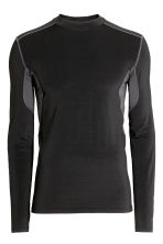 Long-sleeved sports top - Black/Grey - Men | H&M 2