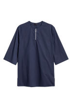 Long T-shirt with a zip - Dark blue - Men | H&M CN 2
