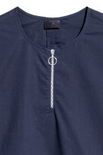Long T-shirt with a zip - Dark blue - Men | H&M CN 3