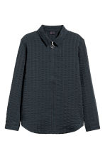 Stripe-weave shirt jacket - Dark blue - Men | H&M CN 2