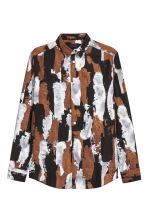 Patterned cotton shirt - Dark blue/Silver - Men | H&M CN 2