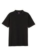 T-shirt with a ribbed trim - Black - Men | H&M 2