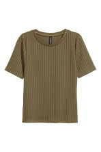 Ribbed top - Olive green - Ladies | H&M 2