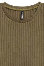 Ribbed top - Olive green - Ladies | H&M 3